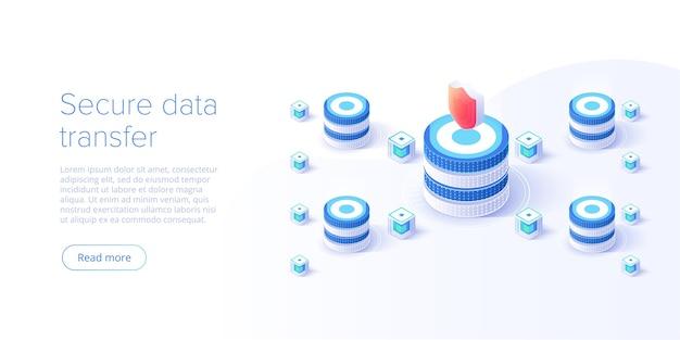 Concept de système de protection de serveur en ligne avec datacenter ou blockchain