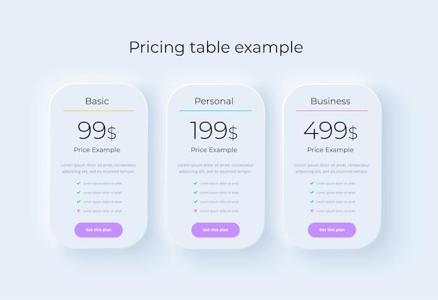 Concept de table de prix dans le neumorphisme réaliste