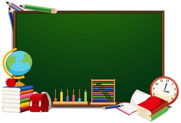 Concept de tableau objets scolaires