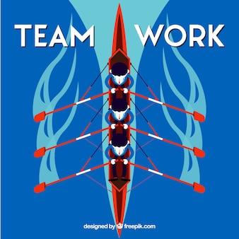 Concept de taemwork avec canoë
