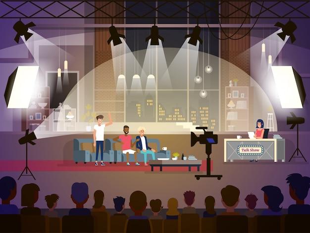 Concept de talk-show avec trois participantes et une journaliste