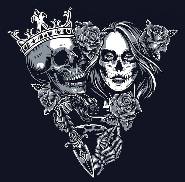 Concept de tatouage chicano vintage