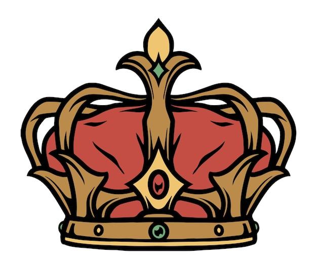 Concept de tatouage coloré de couronne royale en illustration vectorielle isolée de style vintage