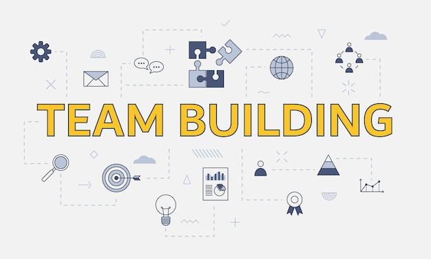 Concept de team building avec jeu d'icônes avec grand mot ou texte sur l'illustration vectorielle centrale