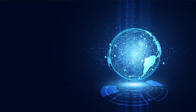 Concept de technologie abstraite connexion cercle mondial
