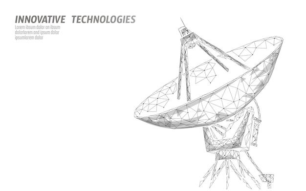 Concept de technologie abstraite de défense spatiale de l'antenne radar polygonale.