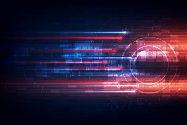 Concept de technologie abstraite motif de mouvement de vitesse et flou de mouvement sur bleu foncé.