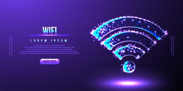 Concept de technologie de communication, signe wifi en pointillé