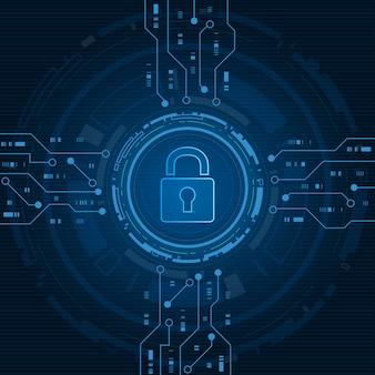 Concept de technologie de cybersécurité, bouclier avec icône de trou de serrure, données personnelles, illustration.