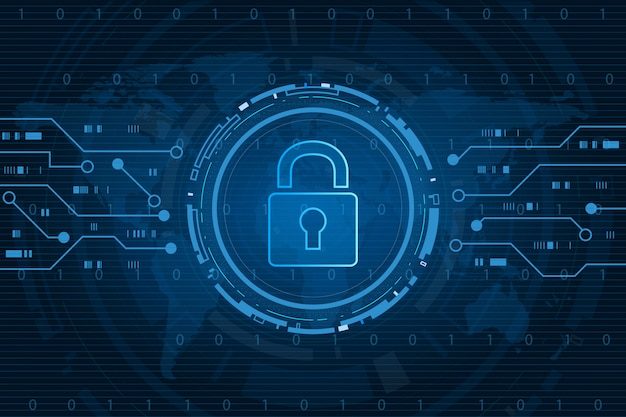 Concept de technologie de cybersécurité, bouclier avec icône de trou de serrure avec fond de carte du monde, données personnelles,