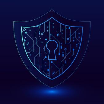 Concept de technologie de cybersécurité, bouclier avec icône de trou de serrure, illustration de données personnelles.
