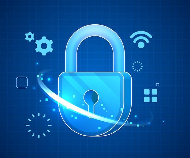 Concept de technologie de données en ligne de sécurité iot, illustration numérique de symbole de verrouillage bleu.