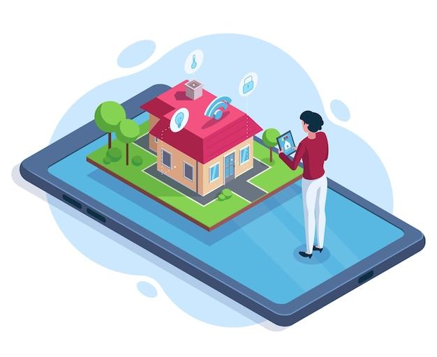 Concept de technologie d'espace de travail de sécurité de maison intelligente isométrique. maison intelligente contrôlée via l'illustration vectorielle de l'application gadget. système de sécurité de maison intelligente. technologie intelligente de sécurité de la maison