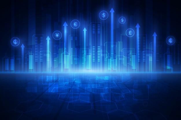 Concept de technologie financière. fintech. devises étrangères.