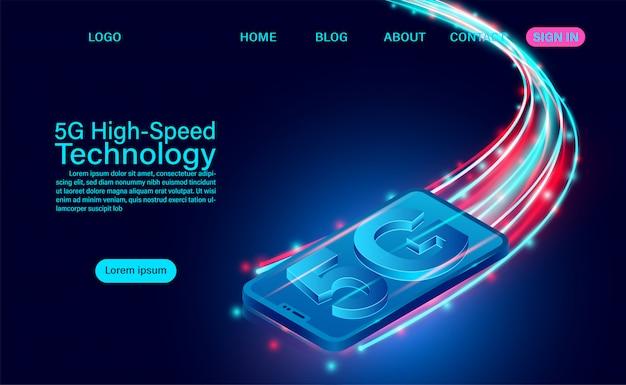 Concept de technologie haute vitesse 5g. communication réseau internet sans fil. connexion réseau internet la plus rapide. illustration de design plat isométrique