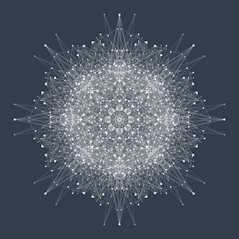 Concept de technologie informatique quantique. deep learning intelligence artificielle. des vagues coulent, des points, des lignes. illustration quantique