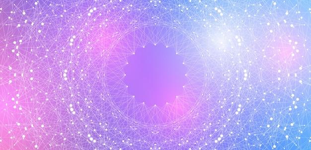 Concept De Technologie Informatique Quantique. Explosion De Sphère Vecteur Premium