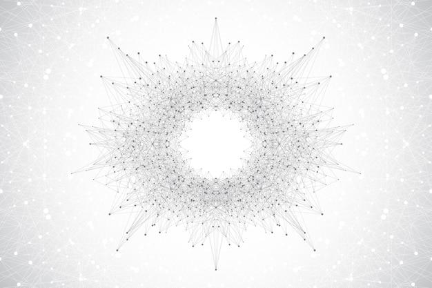 Concept de technologie informatique quantique. fond d'explosion de sphère. apprentissage profond de l'intelligence artificielle. visualisation d'algorithmes de big data. les vagues coulent. explosion quantique, illustration vectorielle.