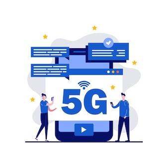 Concept de technologie internet sans fil réseau 5g
