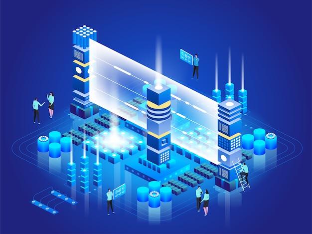 Concept de technologie isométrique. gestion du réseau de base de données. traitement du big data, station énergétique du futur. technicien informatique tournant le serveur. service cloud. information numérique. illustration