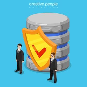 Concept de technologie isométrique plat logiciel de sécurité des données
