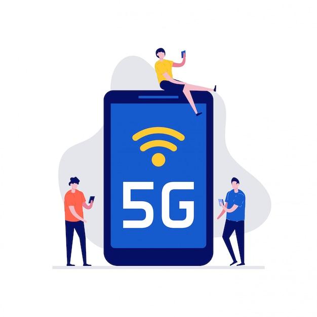 Concept De Technologie Mobile 5g Haut Débit Avec Des Personnages. Systèmes De Réseau Sans Fil De Communication Et Internet. Vecteur Premium