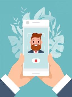 Concept de technologie moderne déverrouiller le téléphone mobile, prise de main masculine et utiliser un smartphone isolé sur bleu, illustration.