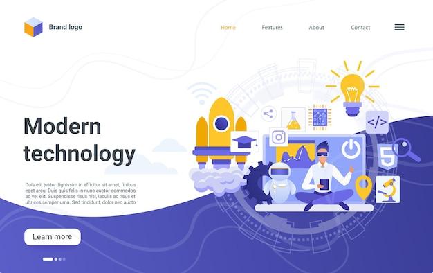 Concept de technologie moderne page de destination symboles technologiques innovants équipement scientifique