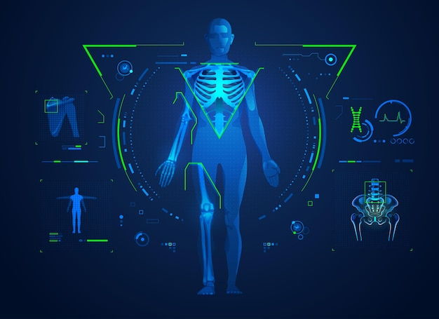 Concept de technologie orthopédique ou de traitement médical des os et des articulations, graphique du corps avec interface à rayons x