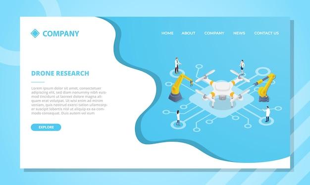 Concept de technologie de recherche de drones pour modèle de site web ou page d'accueil de destination avec vecteur de style isométrique