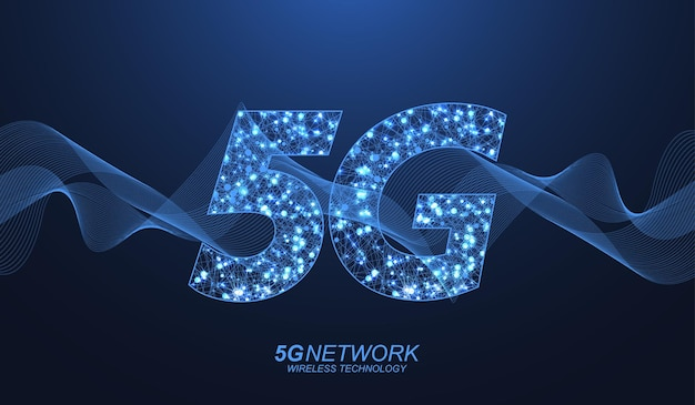 Concept de technologie sans fil de réseau 5g. icône de bannière web 5g pour les entreprises et la technologie, le signal, la vitesse, le réseau, les mégadonnées, la technologie, l'iot et les icônes de trafic. vecteur de flux d'onde de symbole 5g.