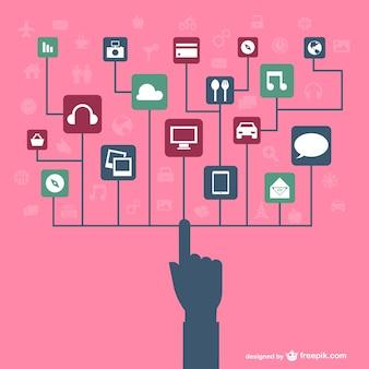 Concept de la technologie tactile de médias sociaux