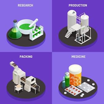Concept de technologies innovantes de l'industrie pharmaceutique 4 icônes isométriques composition avec recherche scientifique production médecine d'emballage