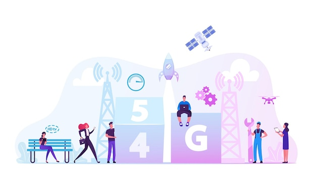 Concept technologique 5g. illustration plate de dessin animé