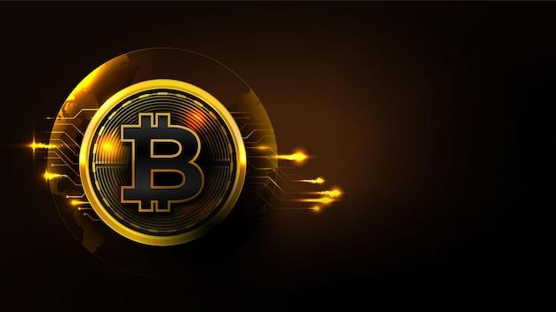 Concept technologique bitcoin avec schéma de circuit