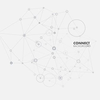 Concept technologique avec forme de couleur abstraite, des lignes et des points