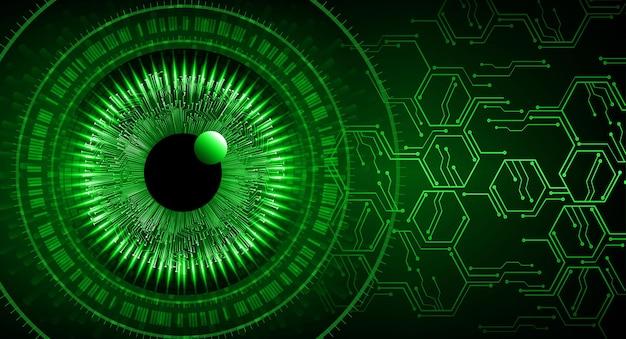 Concept technologique futur du circuit cyber oeil vert