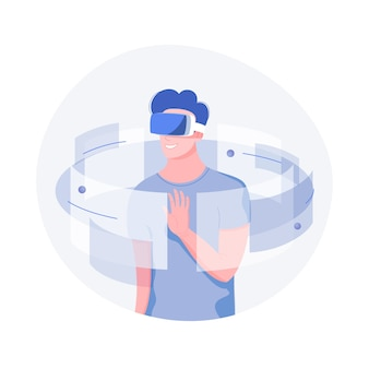 Concept technologique futur. jeune homme avec casque vr avec interface vr touchante. style plat à la mode.