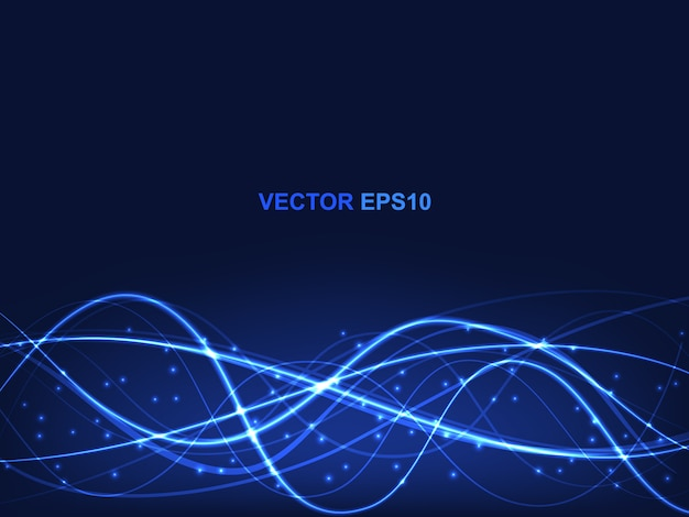Concept technologique avec des lignes et des reflets lumineux translucides bleus.