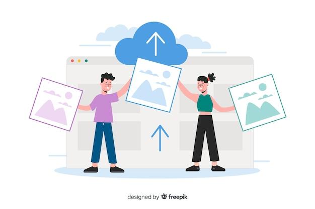 Concept de téléchargement d'images de pages de destination