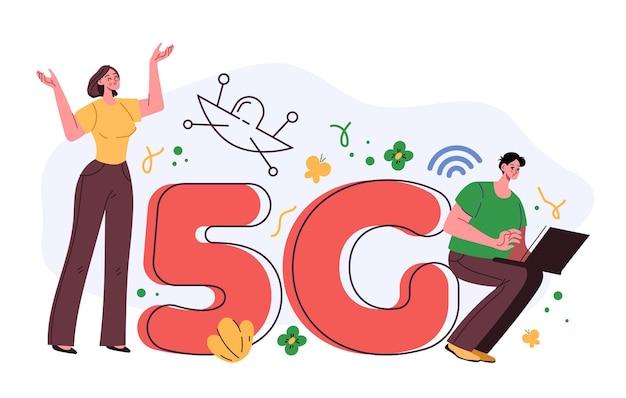 Concept de télécommunication internet haute vitesse sans fil 5g