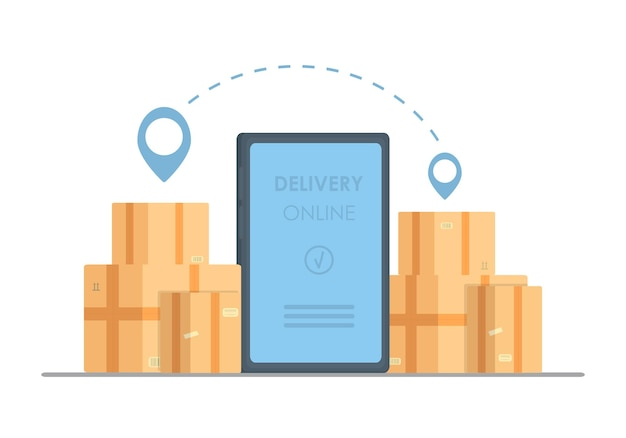 Concept de téléphone de livraison en ligne. réponse rapide du colis de livraison sur mobile. shopping en ligne