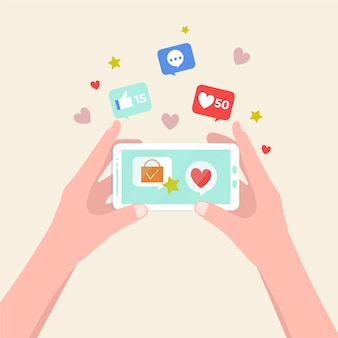 Concept de téléphone mobile marketing des médias sociaux