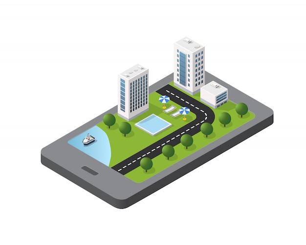 Concept de téléphone de la ville de bloc de module