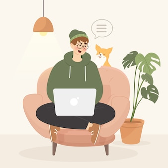 Concept de télétravail avec homme sur fauteuil