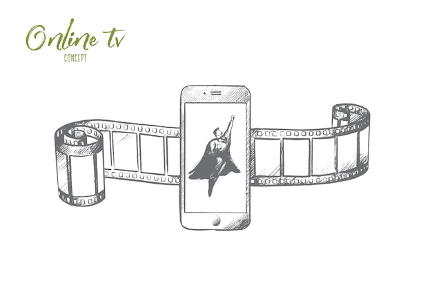 Concept de télévision en ligne. super-héros dessiné à la main sur l'écran du smartphone. symbole du divertissement multimédia