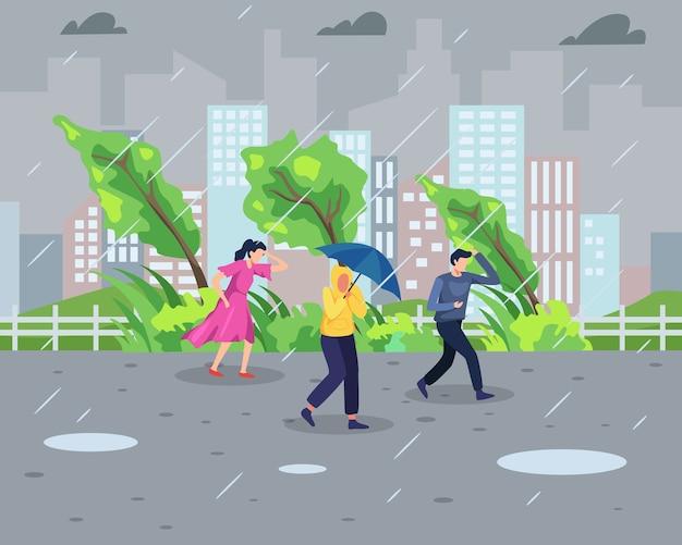 Concept de tempête de pluie. les gens marchent pendant une tempête de pluie avec fond de paysage urbain. catastrophe naturelle et concept de temps extrême. dans un style plat