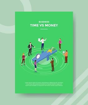 Concept de temps contre argent pour modèle de bannière et flyer avec vecteur de style isométrique