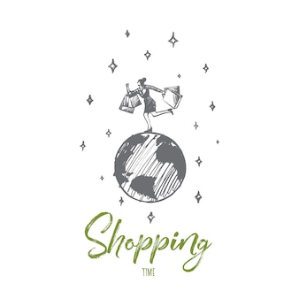 Concept de temps de magasinage. main dessinée femme heureuse faisant du shopping. femme en cours d'exécution avec illustration isolée de paquets.