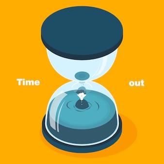 Concept de temps mort au design plat isométrique 3d